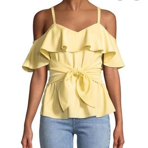 Club Monaco Cold Shoulder Ruffle Peplum Top
